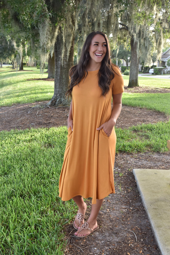 Mustard Midi Dress with Pockets