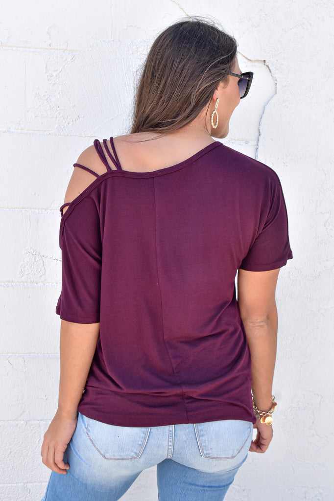 Fashionably Late One Shoulder Top- Plum
