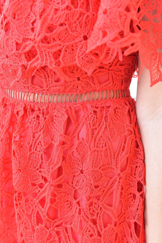 Cheers to You Red Lace Dress