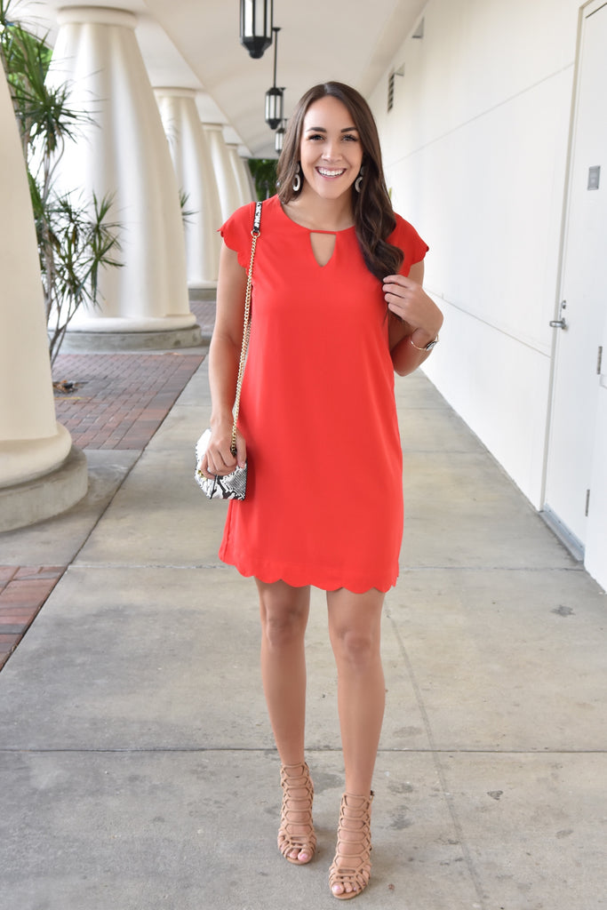 Bright Spirits Red Scallop Dress