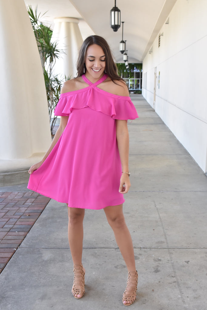 Magenta Full of Heart Off The Shoulder Dress