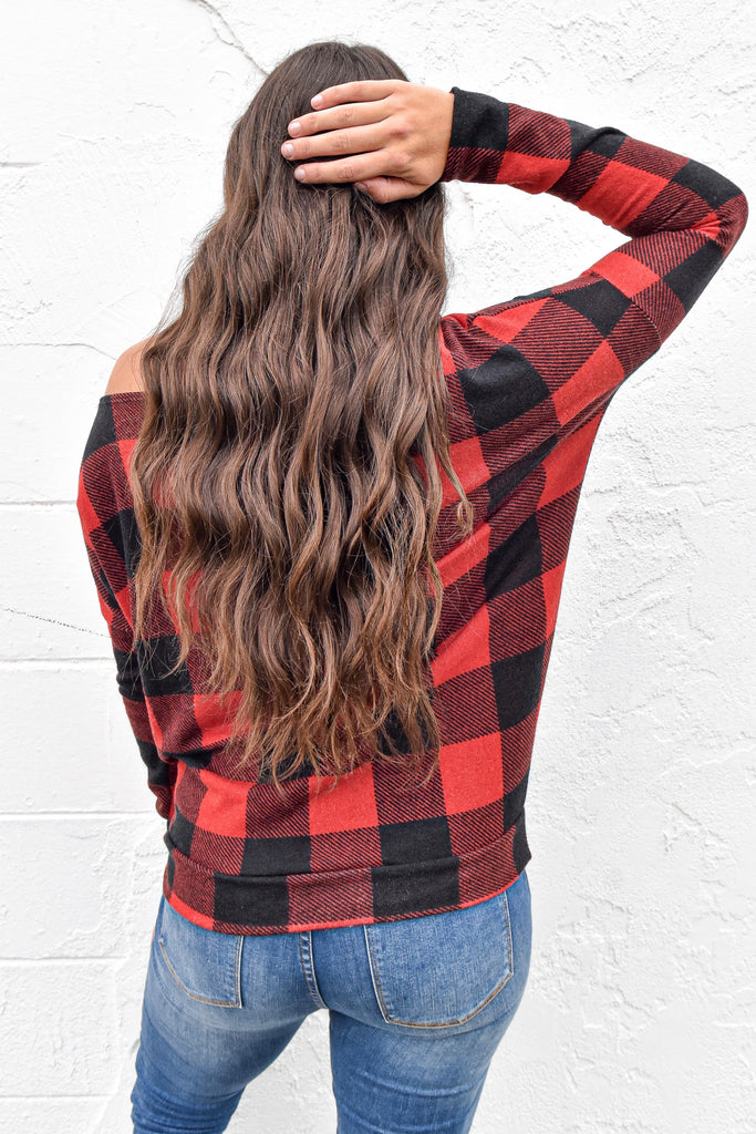 In The Woods Plaid Off the Shoulder Top - Red