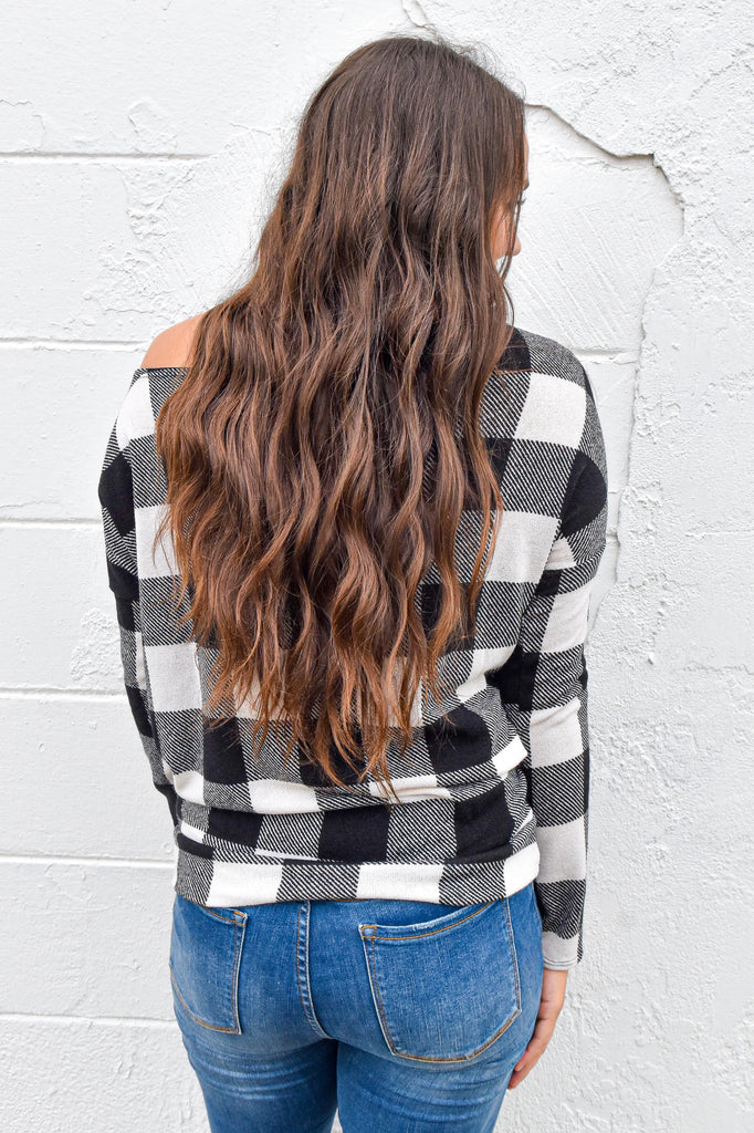 In The Woods Plaid Off the Shoulder Top - Ivory