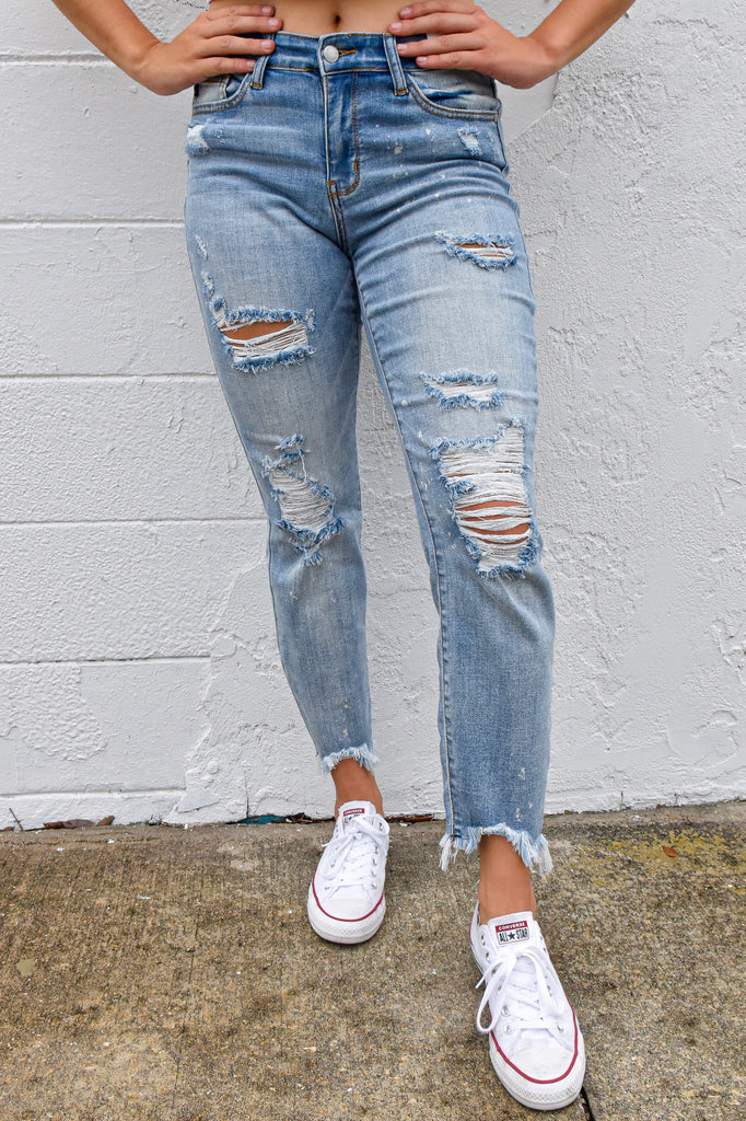 The Landyn Distressed & Bleached Jean - Vogue Society