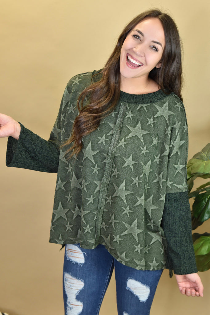 Seeing Stars Sweater- Olive