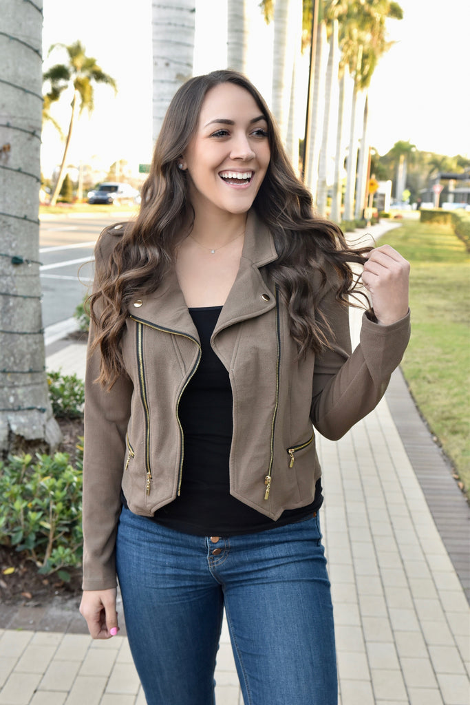 Chic In The City Moto Jacket- Tan