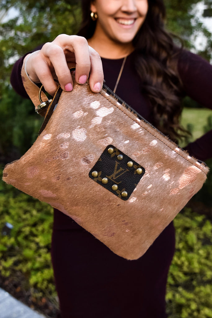 Rose Gold Cow Hide Repurposed Louis Vuitton Clutch - Vogue Society
