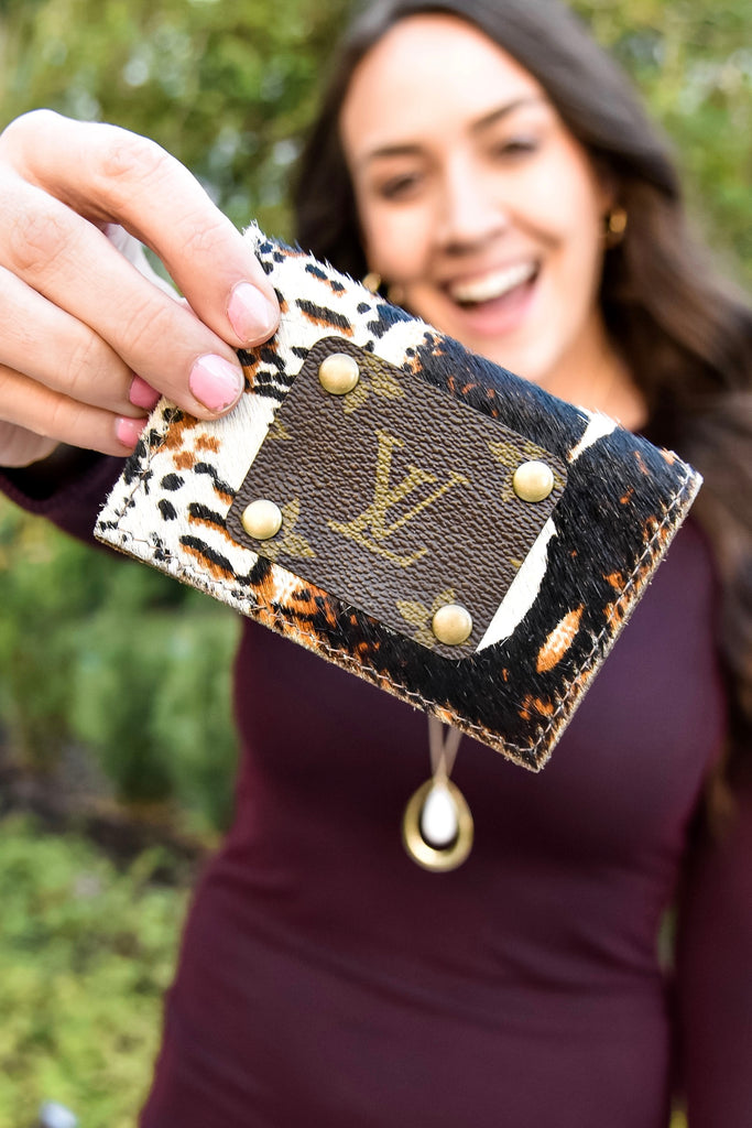 Gypsy Print Repurposed Louis Vuitton Card Holder - Vogue Society