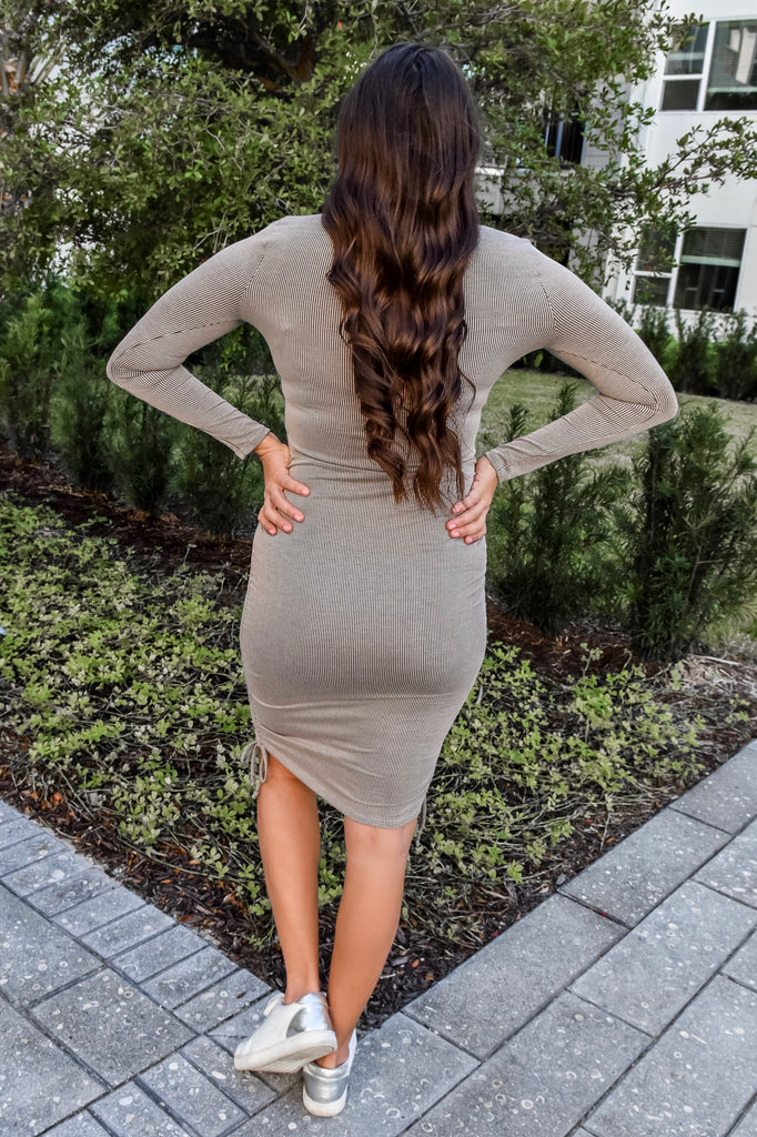Miss Confident Ribbed Dress- Latte - Vogue Society