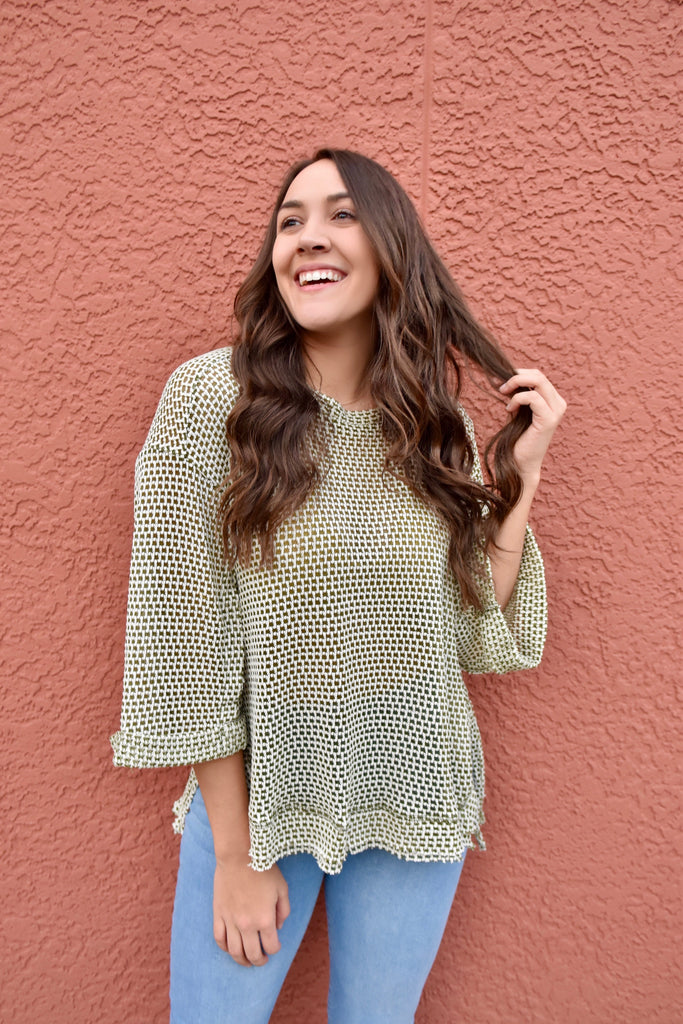 The Honey Belle Top- Olive Green