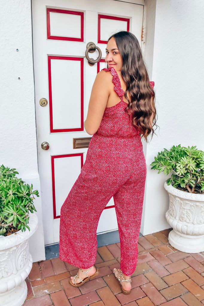 Boston Pier Red Jumpsuit - Vogue Society