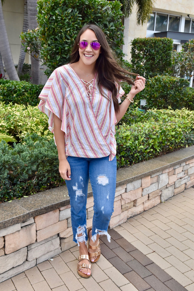 Beachy Breeze Striped Top- Red Mix