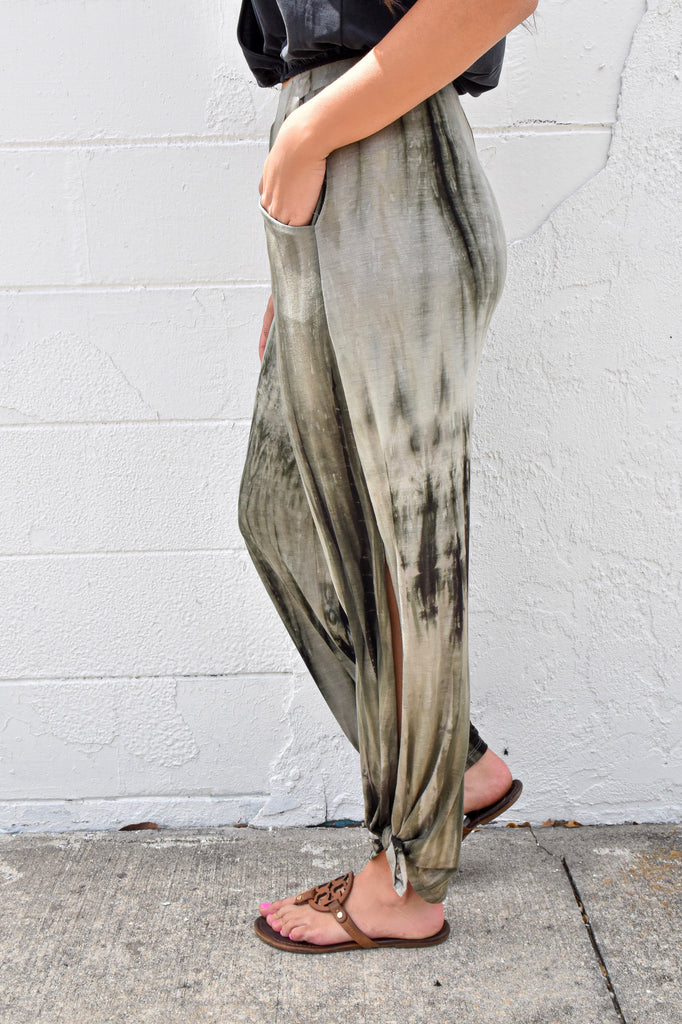 Olive Tie Dye Side Split Pant