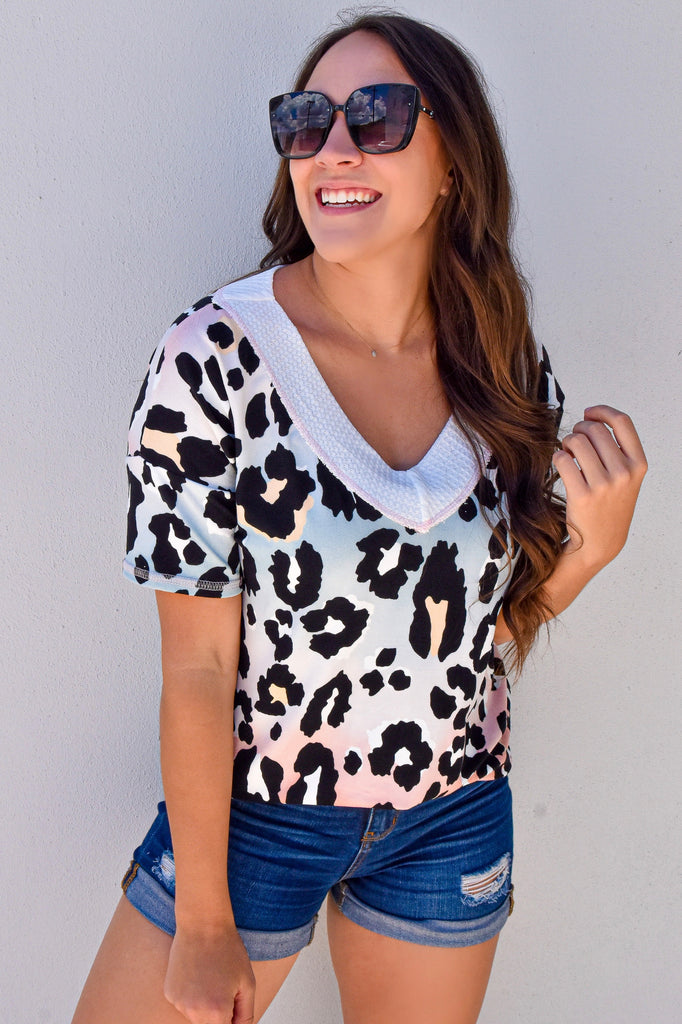 Sprinkled with Leopard Ombré V-Neck