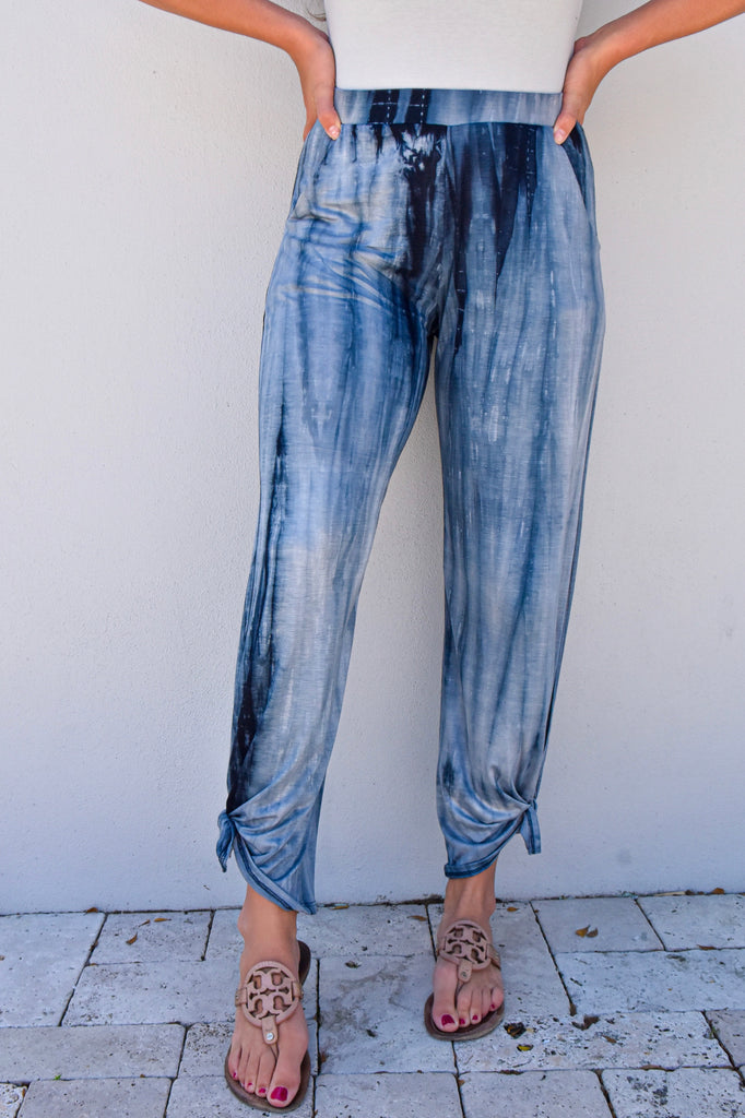 Navy Tie Dye Side Split Pant