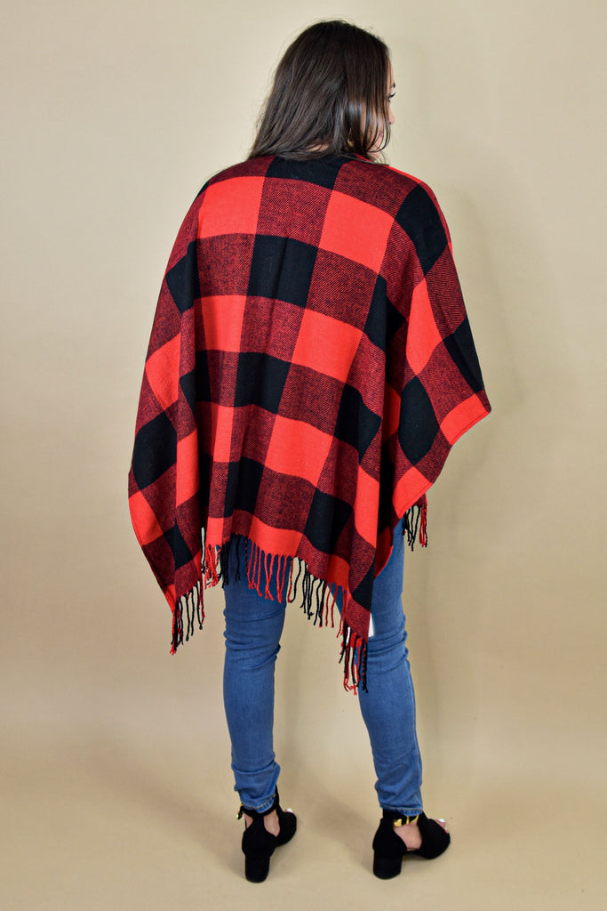 Buffalo Plaid Poncho- Red