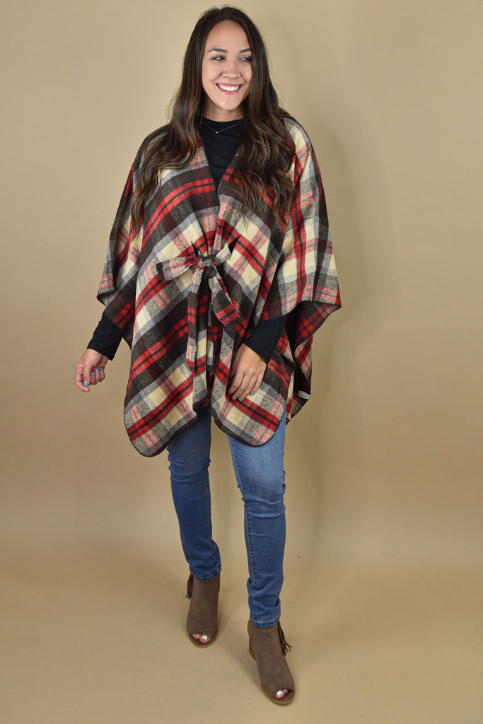 Fall Weather Plaid Poncho- Red