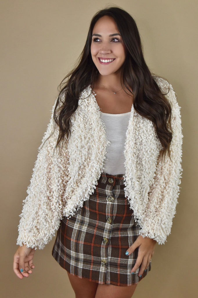 Fall Statement Fuzzy Cardigan- Cream
