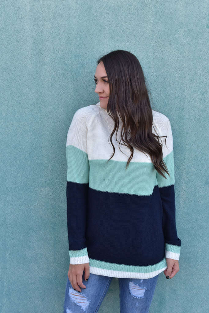 Candice Blue Striped Sweater