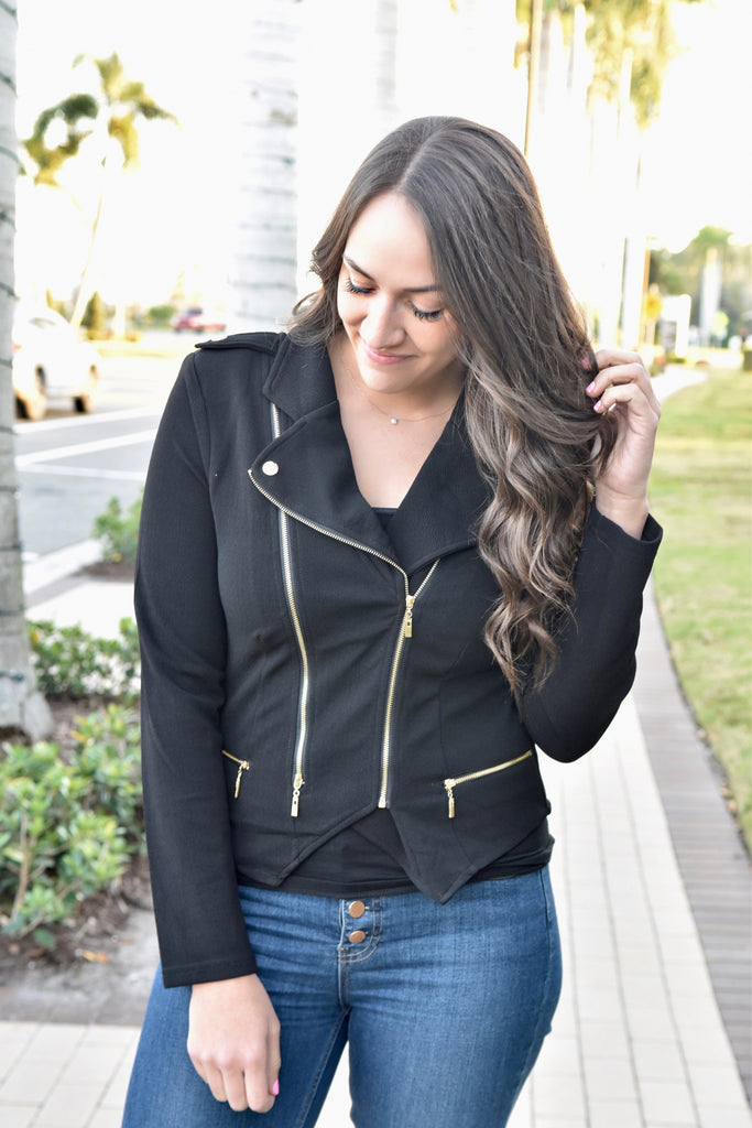 Chic In The City Moto Jacket- Black