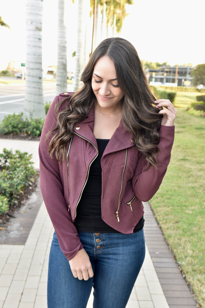 Chic In The City Moto Jacket- Maroon