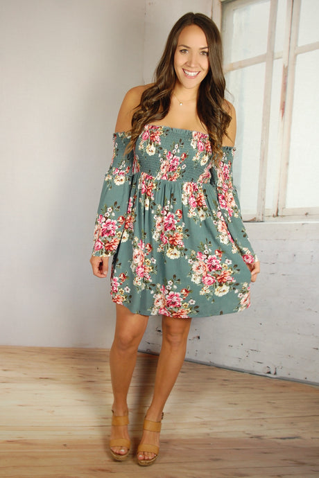 Teased with Teal Floral Dress