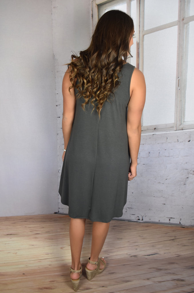Love So Soft Tank Dress with Pockets- Grey