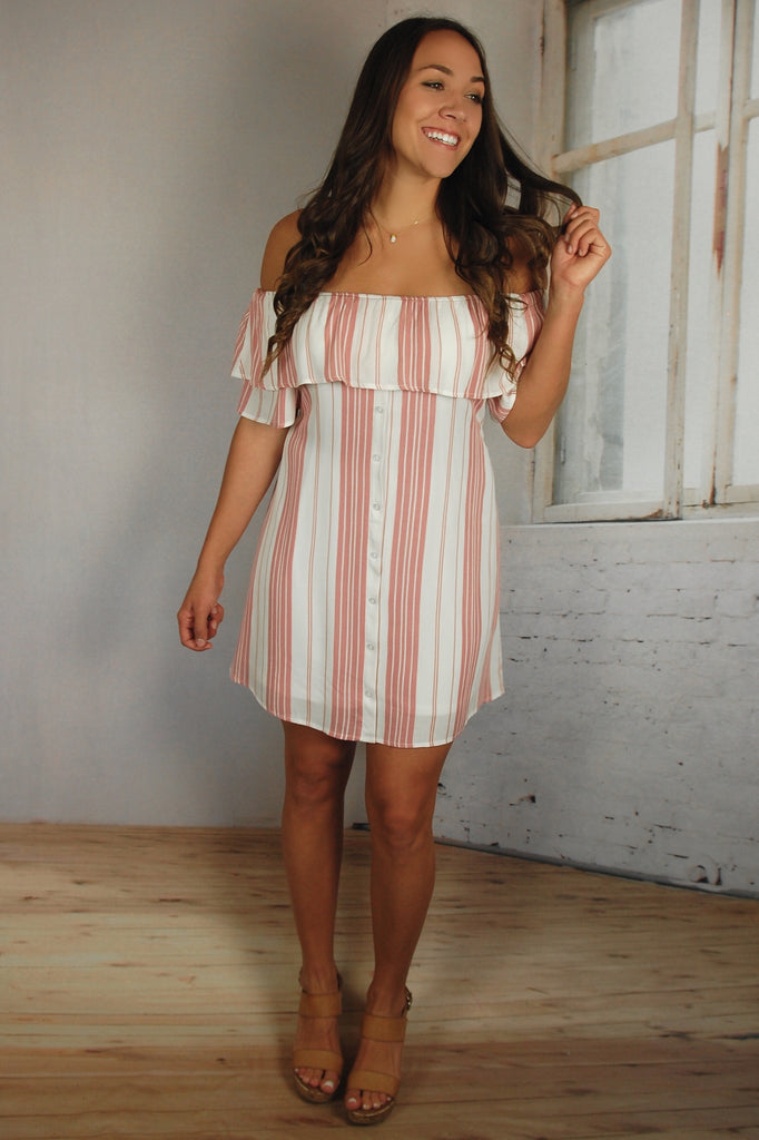 By the Sea Blush Striped Dress