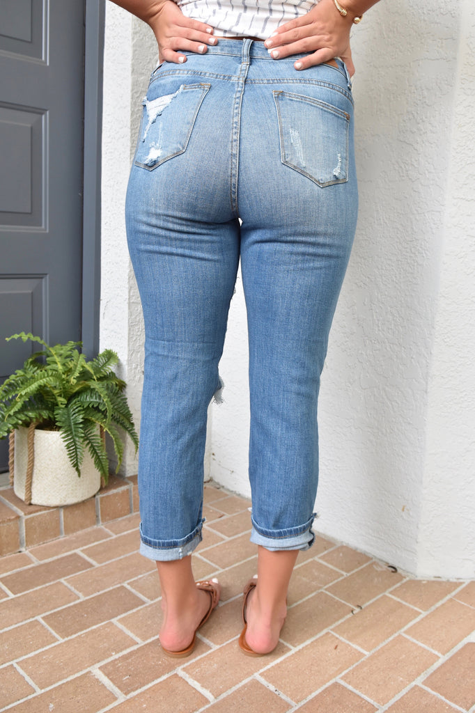 Light Denim Destroyed Boyfriend Jeans