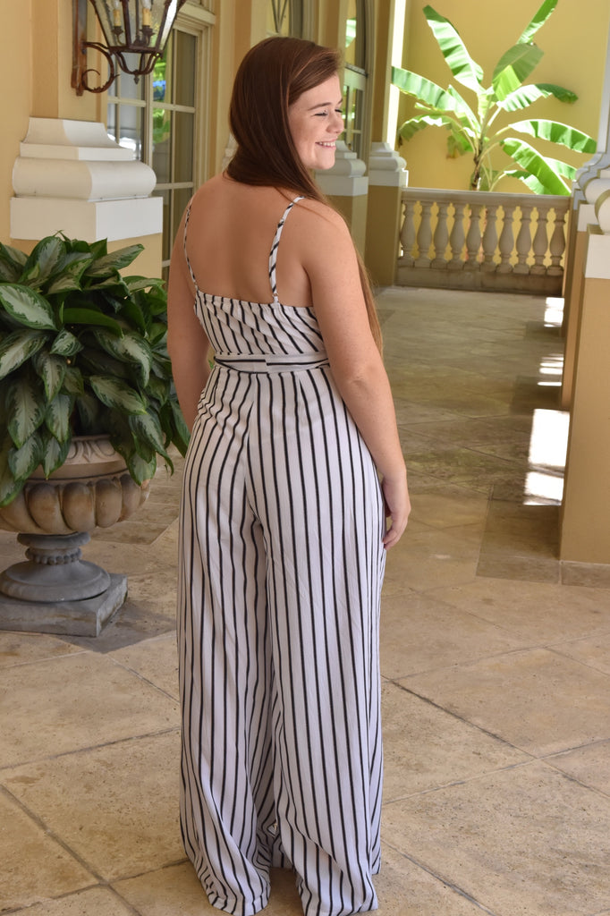 Classic Black & White Jumpsuit with Flowy Pants