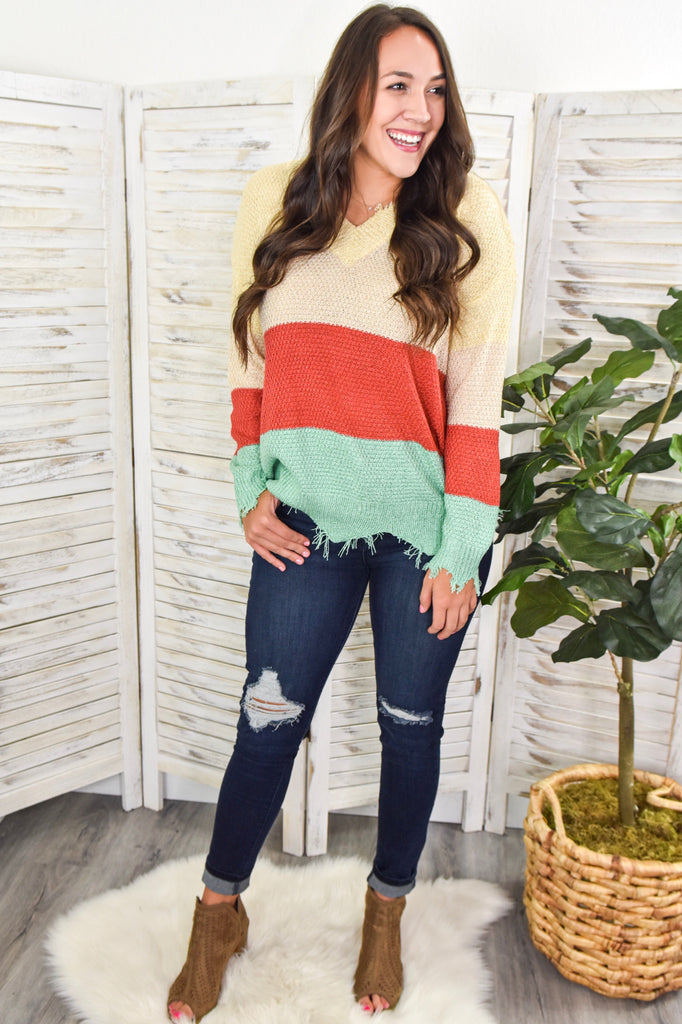 Creamy Coral Sea Striped Frayed V-Neck Sweater
