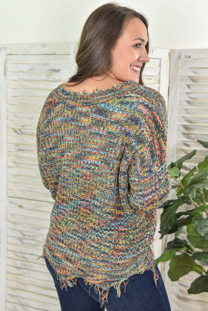 Tessa Frayed V-Neck Sweater- Rainbow Slate