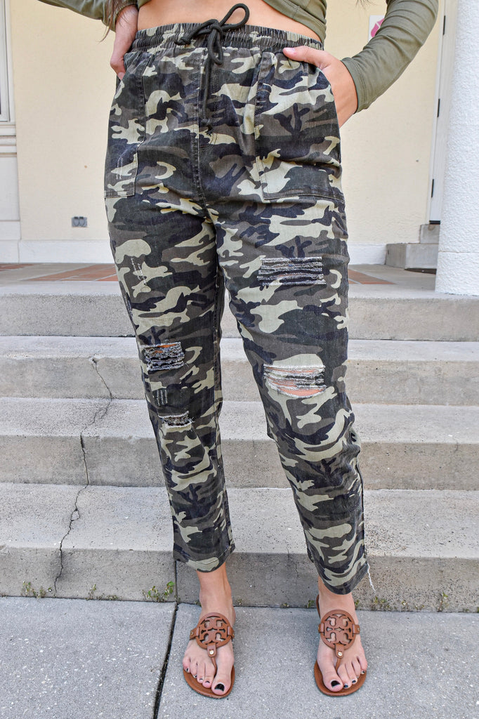 Distressed Camo Elastic Waist Jogger Pants - Vogue Society