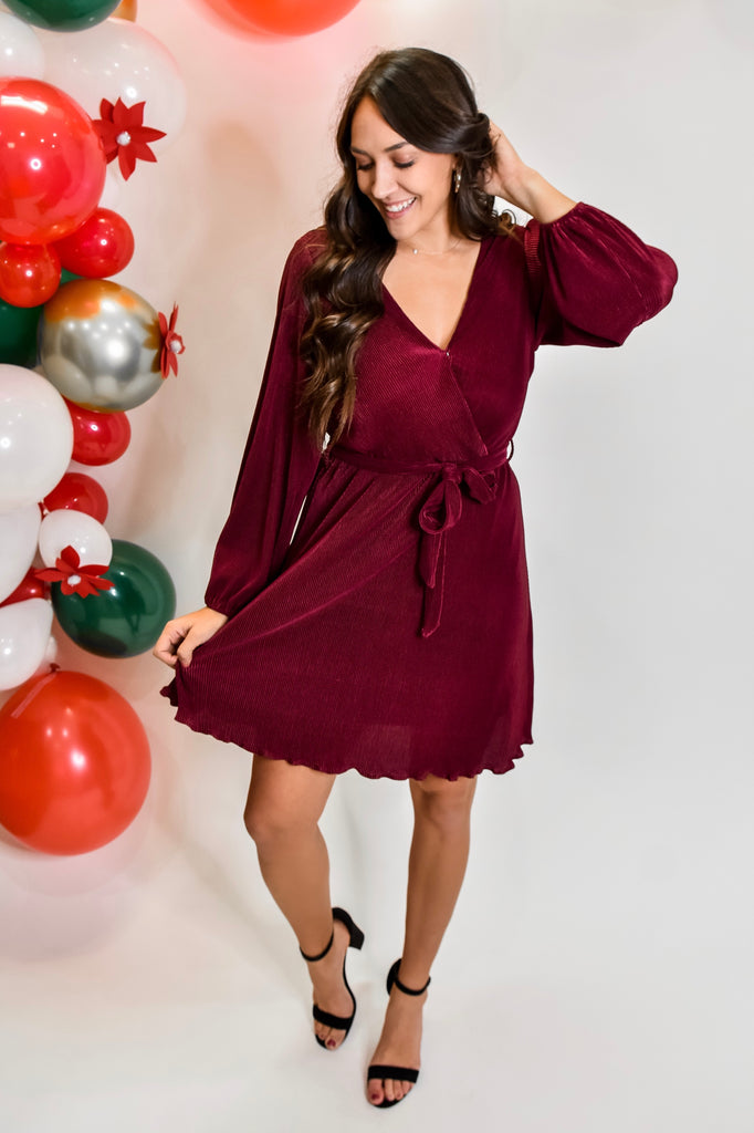 Christmas Eve Magic Dress- Wine - Vogue Society