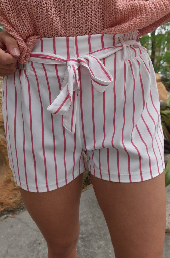 White & Pink Striped Shorts
