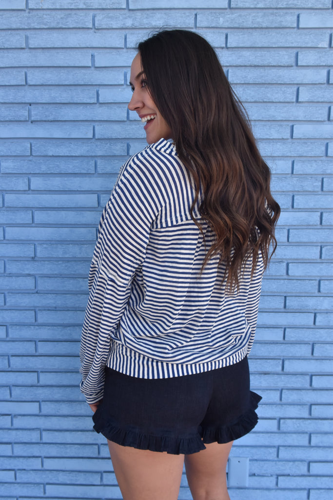 Dede Striped Cardigan- Blue