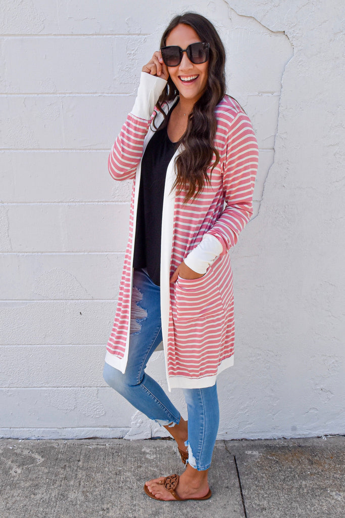 Fall Weekend Cozy Striped Cardigan- Pink