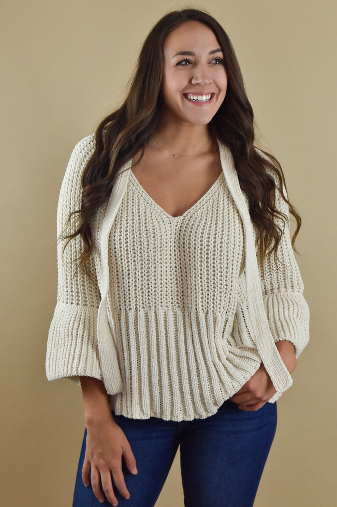 Toasted Almond Sweater with Tie
