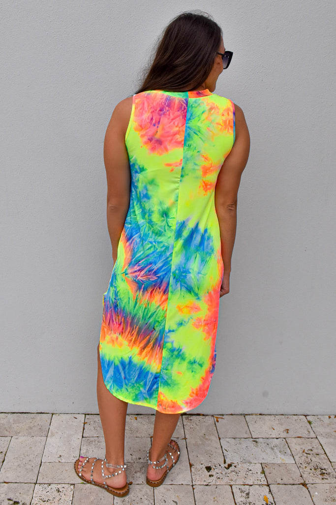 Center of Attention Tie Dye Dress- Rainbow