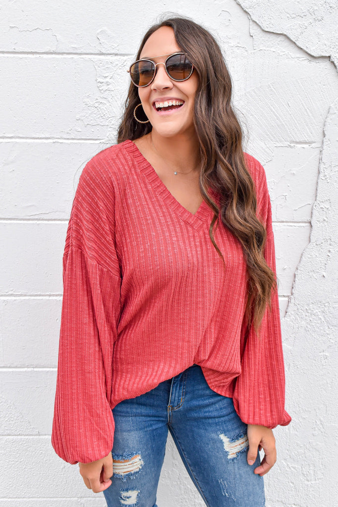 September Skies Lightweight Sweater- Rose