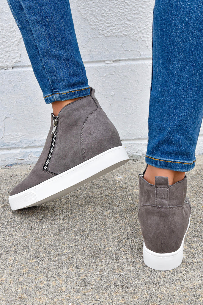 The City Girl Grey Sneaker Wedge