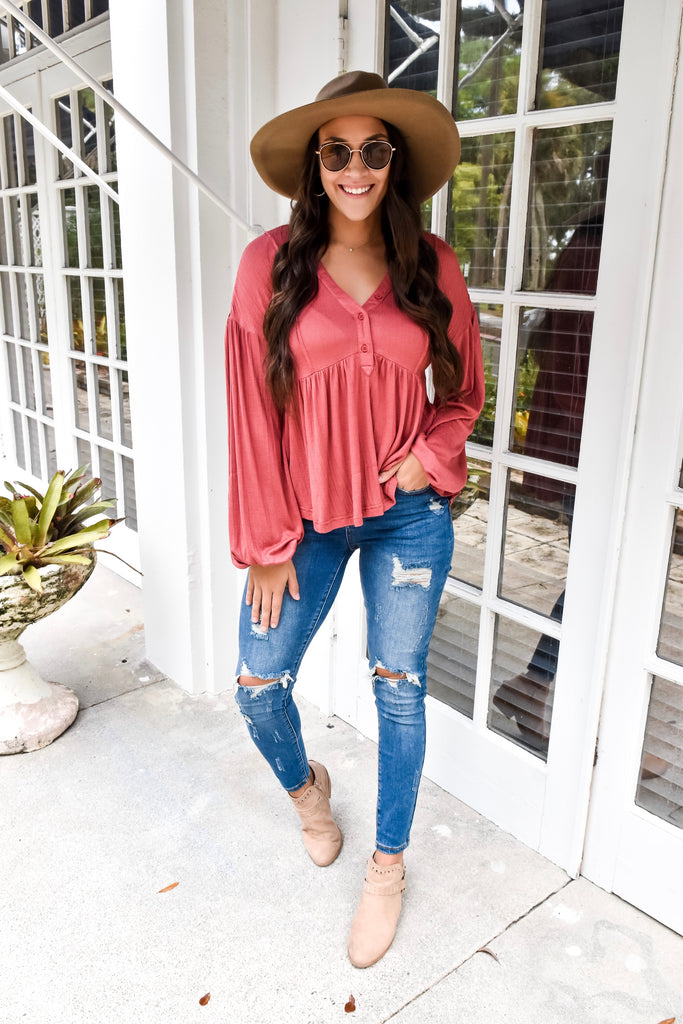 The Brooke Babydoll Button Top- Rustic Brick
