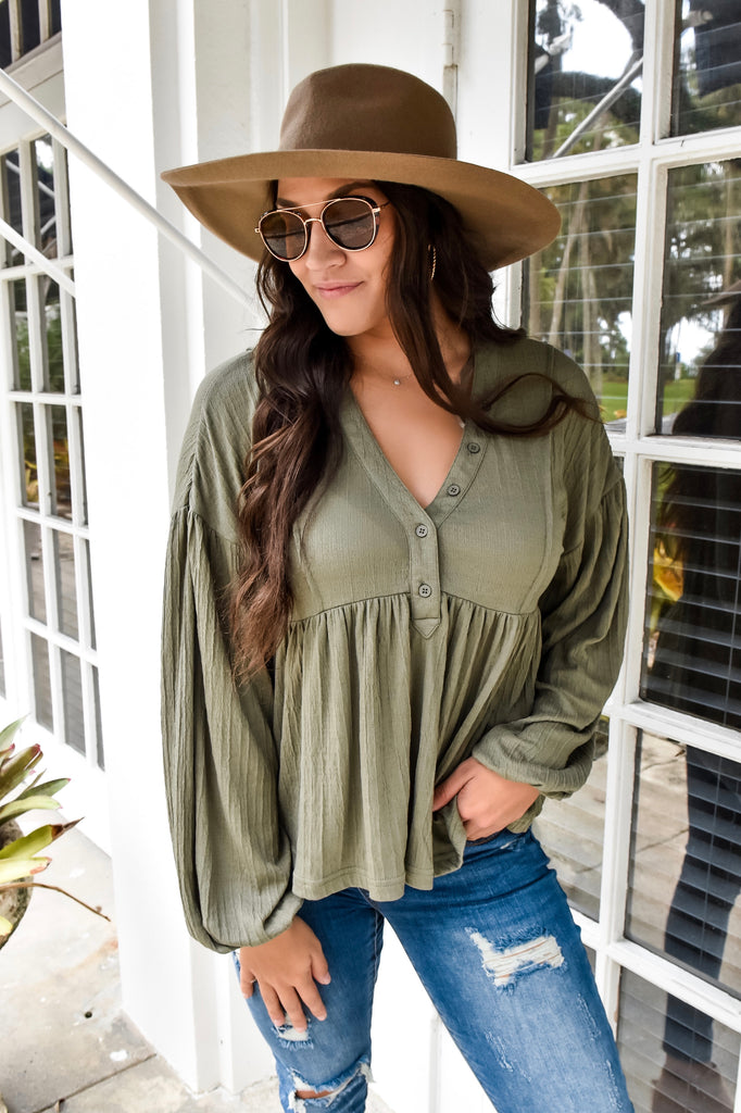 The Brooke Babydoll Button Top- Light Olive