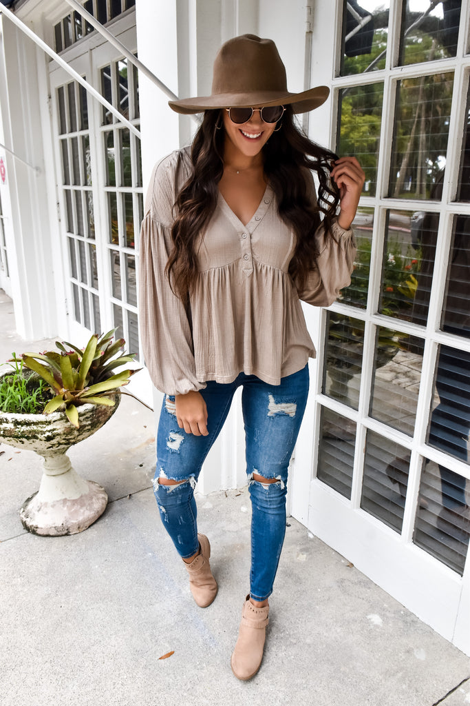 The Brooke Babydoll Button Top- Light Mocha