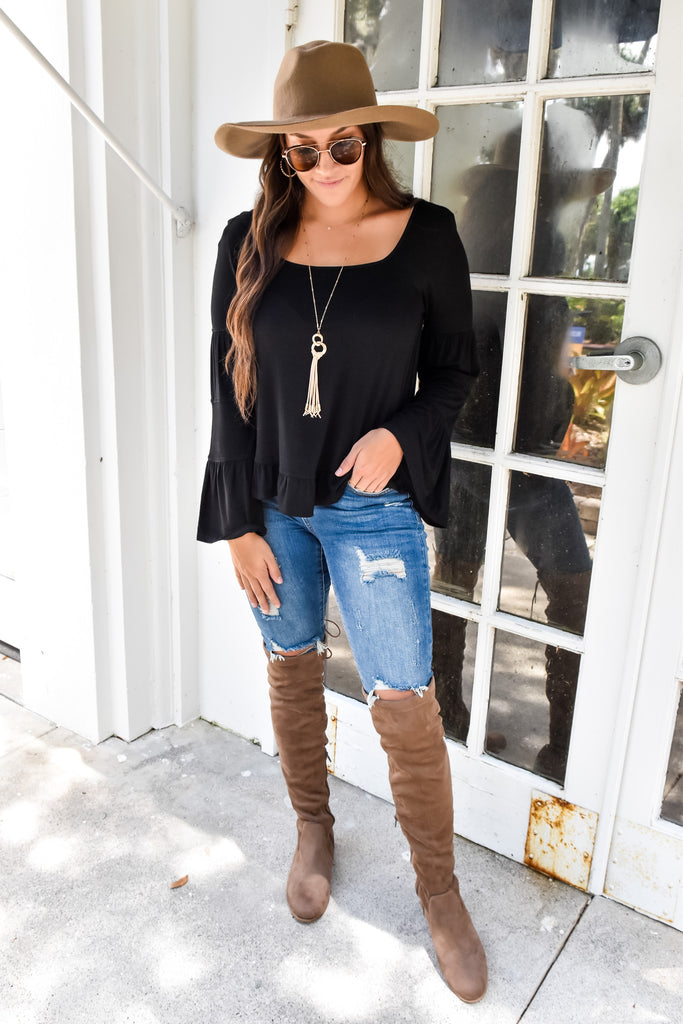 Southern Belle Bell Sleeve Top- Black