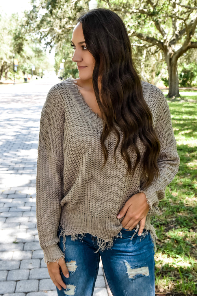 The Classic Destroyed Sweater- Light Mocha
