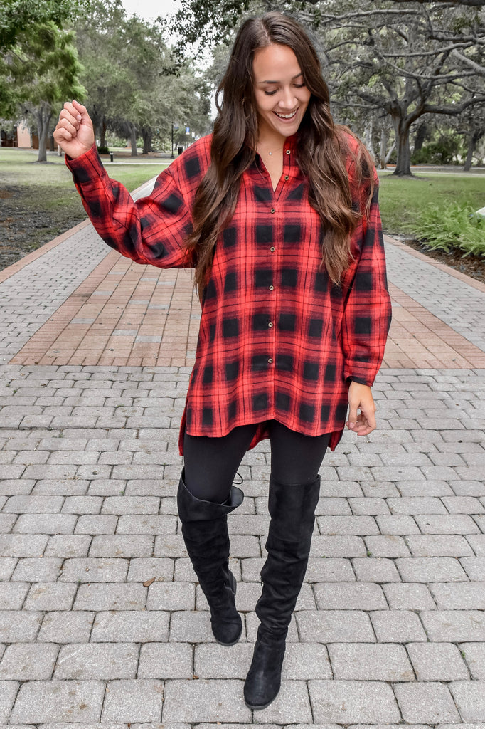 Mountain Getaway Flannel- Red