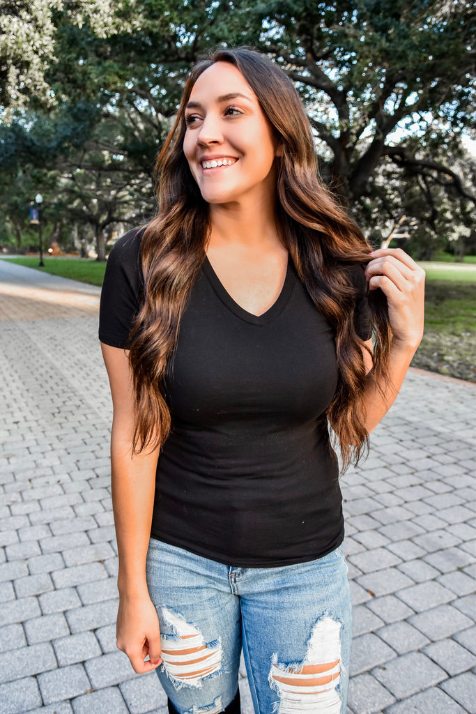 Black Fitted V-Neck Tee
