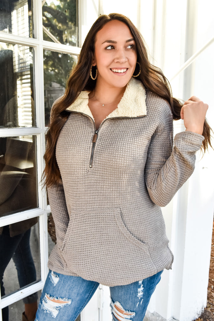 Gingerbread Faux Fur Pullover