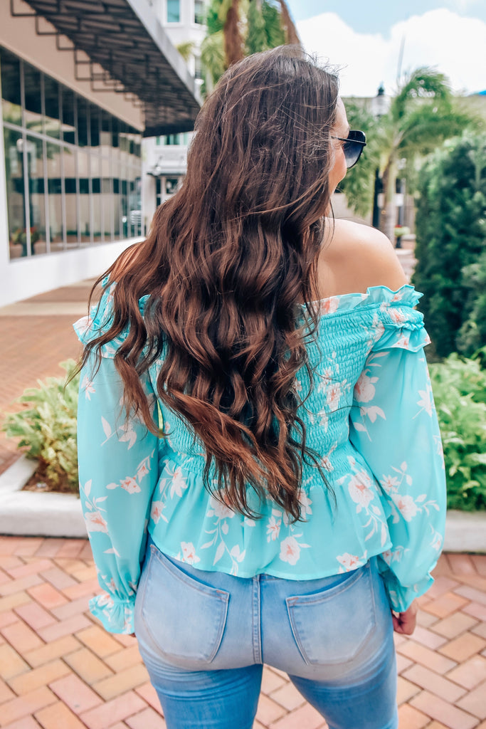 One Sweet Day Floral Top- Aqua - Vogue Society